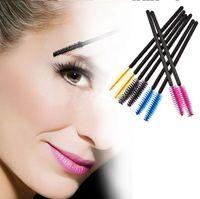 ingrosso spazzole di trucco giallo-Pennello mascara monouso ciglia mascara applicatore trucco cosmetico strumento rosa blu giallo colore nero