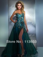 Wholesale Pink Peacock Feather Prom Dress - 2013 New Arrival Fashion Sexy Beaded Peacock Feather Embroidery Slit Long Evening Prom Dress Gown Plus Size Custom Made
