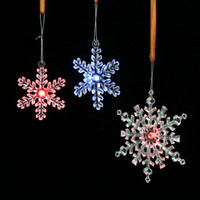 Wholesale Snowflake Christmas Tree Lights - 2017 hot New creative plastic transparent snowflake ornaments Christmas decorations pendant led light decorations wholesale free shipping