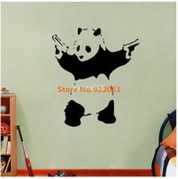 Wholesale Wall Stickers Panda - Free shipping, New removable vinyl Wall Stickers, Banksy Vinyl Wall Decal Cartoon Panda Wall Art,, Home decoration 58* 67CM