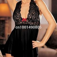 Wholesale Ladies Sleepwear Plus Sizes - Sexy Ladies Lace Dress Babydoll Lingerie Nightwear G string Plus Size Sleepwear