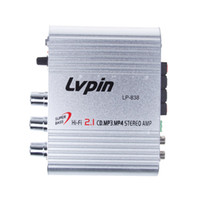 Wholesale Mini Amplifiers Lepai - Free Shipping 2.1 3 Channel Stereo Mini Computer Car Amplifier Subwoofer Out Amplifier Lepai LP-838,Good Amplifier ZM00055