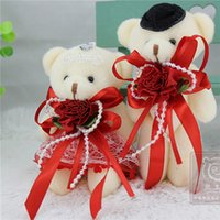 Couple ours 12pairs / lot mariage Teddy Bear 12cm Peluches mariage et cadeau Saint Valentin On Sale petits farcis Teddy Bears