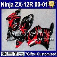 Wholesale Zx12 Fairings Kawasaki - 7gifts For KAWASAKI Red flames 00-01 NINJA ZX12R 2000 2000-2001 ZX12 R 2001 2F383 ZX 12R HOT Red black ZX-12R ZX 12 R 00 01 Fairing