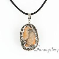 Wholesale Black Stone Jewlery - stone pendants birthstone jewellery drusy necklace birthstone jewlery semi precious stone quartz rhinestone birthstone jewellery druzy penda