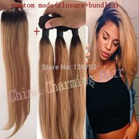 Hot selling Ombre Hair Extensions #1b 27 Honey Blonde Ombre Dark Root Virgin Human Hair 3Pcs With Lace Closure Two Tone Straight Hair Weave Freeshipping