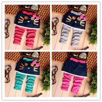 Wholesale Dress Polka Dot Pants - Wholesale-2015 new girl pants Hello Kity polka dot leggings Girls skirt pant bows cute denim dress sweet leggings BEBE pants