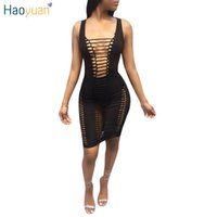 Wholesale Cheap Sexy Night Clothes - HAOYUAN Black White Hollow Out Sexy Bandage Dress Summer Cheap Clothes China Sun Bodycon Dress Women Night Club Party Dresses q1110
