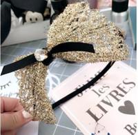 Wholesale Princess Hair Weave - Kids Bows hair sticks girls spun gold weaving Bows headdress Children stereo Bows pearl headwear princess party accessories C2377