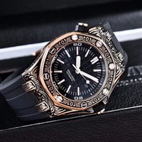 Wholesale Glass Sculptures - 2017 Top Selling Luxury Watch Special Sculpture Black Dial Stainless Steel Automatic Mechanical Men Watches Wristwatches