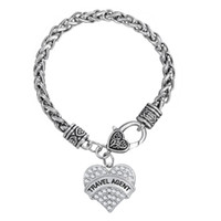 Wholesale Wheat Link Bracelet - 10pcs lot Word Travel Agent Heart Pendant Charm Thick Wheat Link Chain Bracelet For Handmade Jewelry (BH110254)