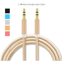 Wholesale Gold Plated Rca Jacks - aux cable jack 3.5mm male to male aux Audio cable 1M Aluminum Alloy Gold Plated Plug nylon wire for car MP4 3 Speaker