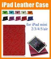 Wholesale diamond ipad covers - For iPad mini ipad Air 2 3 4 5 360 degree Rotary Rotating Stand cover Maple Diamond Bling Rhinestone Flower Flip PU Leather Case PCC026