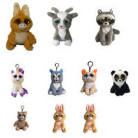 Wholesale Mini Plush Toys Wholesalers - 10 Styles Feisty Pets Plush Toys Squeeze Animals Pets Plush Animal 4inch Mini Keychain Party Favor CCA8126 10pcs