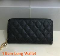 porte-main noire achat en gros de-2018 Femmes Mode Long Portefeuille Noir Véritable Caviar En Cuir Zipper Purse Porte-Carte En Métal Balle Marque Qualité femmes Sac À Main D'embrayage