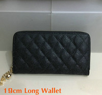 Wholesale coin purse balls - 2018 Women's Fashion Long Wallet Black Genuine Caviar Leather zipper Purse Card Holder Metal Ball Brand Quality women Hand bag Clutch