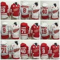 Wholesale Detroit Hoodie - 2017 Detroit Red Wings Hoodies Jerseys 71 Larkin 40 Henrik 9 Gordie Howe 19 Steve Yzerman 8 Abdelkader Hockey Hooded Sweats
