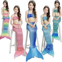Wholesale Swimming Costume Kids - 3pcs Baby Kids Girls Bikini Set Mermaid Tail Swimwear Swimsuit Swimming Costume 5 Colour 5 Size