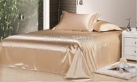 Wholesale fitted bedsheet - Wholesale-6 color Free Shipping Wholesale of 100% pure mulberry silk flat sheet 19mm size 200cm*230cm 100% seamless good quality silk