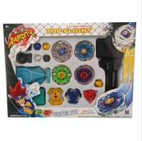 Wholesale Spin Top Launchers - New Metal Fusion Top Rapidity Fight Master Rare Beyblade 4D Launcher Grip Set Kids Beyblade Spinning Tops