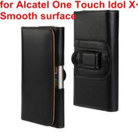 ingrosso idolo x caso-Caso della copertura della cassa della clip della cinghia di cuoio dell'unità di elaborazione della fondina di caso più nuovo per la borsa del telefono di Idol X + 6043D di tocco di Alcatel One Touch