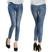 Wholesale Silver Leggings For Women - New Spring Leggings Jeans for Women Denim Pants with Pocket Slim Leggings Fitness Thin High Elastic Pencil Leggings XK0273 smileseller