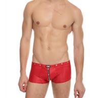 boxers sexy con cremallera al por mayor-lencería sexy para hombre boxers ropa interior de látex pu marca masculina bragas gay ropa interior pantalones cortos gay de ida y vuelta cremallera abierta entrepierna