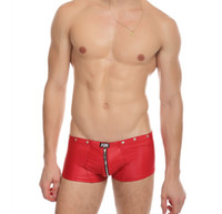 Wholesale Gay Mens Underwear Brands - sexy lingerie mens boxers latex pu underwear brand masculina gay panties underwear gay shorts back and forth zipper open crotch