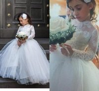 Wholesale Wedding Gown Transparent Sleeves - 2015 Little Girls Wedding Dresses High Neck Long Transparent Sleeve Lace Appliques Ball Gown Little Flower's Girls Dresses