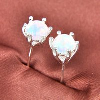 Wholesale White Sapphire Gemstone - Elegant European 925 Silver Fire Round White Opal Gemstone Stud Earrings E0369