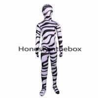 ternos de zebra venda por atacado-Venda quente 2017 Preto e Branco Listrado Zebra Padrão Lycra Spandex Zentai Traje Para As Crianças de Corpo Inteiro