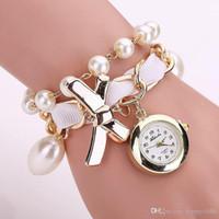 pulsera de perlas relojes mujeres al por mayor-Nuevas mujeres Pearl Pearl pulsera reloj Casual Women Watch relojes de lujo reloj de cuarzo BEST Gift Clock