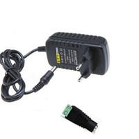 bandes de lumière prises par entrée 12v achat en gros de-Adaptateur d'alimentation 12V Transformateur 2A US UK UK Plug Entrée AC 110V 220V 240V + Connecteur femelle pour 3528 5050 LED Flex Strip Light Lighting
