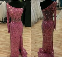 Wholesale One Shoulder Purple Sequin Dress - Stunning One Shoulder Long Sleeves Full Sequins Fushia Evening Dresses Illusion Backless Sexy Side Split Beaded Crystal Prom Gowns