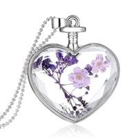 amante das flores roxas venda por atacado-2015New chegada roxo seco flor vidro amantes coração colar para mulheres, moda prata atacado senhoras pingente colares