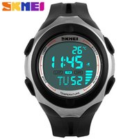 Wholesale Skmei White Silicone - 2016 explosion models Skmei brand sports silicone temperature alarm pedometer unisex electronic watches multicolor optional free shipping