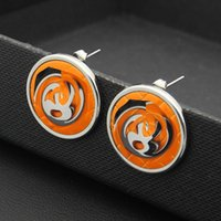 Wholesale Earring Nails - Fashion double C earring jewellery wholesale black and white orange rounded plate ear nail 18K Rose Gold Earrings