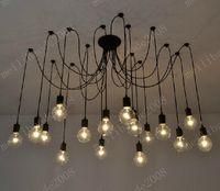 Wholesale Spider Ceiling Lamp - 16-Lights Retro Classic DIY RH Designer Loft American Edison Vintage Ceiling Chandelier Lamp E27 Pendant Spider Lamps Holder MYY9977A