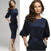 Wholesale casual dreses - Wholesale-Summer Woman Dreses 2015 Lantern Sleeve Blue Jeans Dresses European Woman Office Work Wear Prom Dresses With Belt