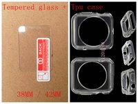 Wholesale Transparent Soft Glass - Free Shipping 1pcs Clear Transparent Soft TPU Case Cover+ 1pcs Clear tempered glass Screen protector For Apple iwatch Watch 38mm 42mm R02