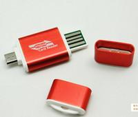 sd kart yuvası usb adaptörü toptan satış-U910 USB Erkek Mikro USB Çift Yuvası OTG Adaptör Ile TF / SD Kart Yuvası Okuyucu Android Smartphone Tablet Ücretsiz Nakliye Için