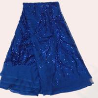 vestido popular para la fiesta al por mayor-Más popular azul real tela de encaje neto francés con lentejuelas FN7-5 bordado africano tela de malla orangza para vestido de fiesta
