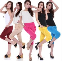 Wholesale Cheap Hot Panties - candy color fashion harem pants loose leggings ice silk panties hot-selling summer harem short leggings pants 15 colors factory price cheap