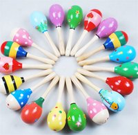 Wholesale Instrument Rattle - free shipping Hot Sale Baby Wooden Toy Rattle Baby cute Rattle toys Orff musical instruments Educational Toys
