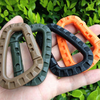 Wholesale Hook Plastic Buckle - Wholesale- ITW Ghillie Tex D Shape 200LB Mountaineering Buckle Snap Clip Plastic Steel Climbing Carabiner Hanging Keychain Hook Fit Tool