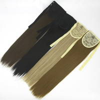 Wholesale long fake ponytail online - Long High Temperature Fiber Straight Drawstring Hairpiece Clip in Pony Tail Hair Extensions Fake Hair Ponytail