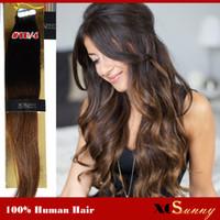 extensiones de cabello tinte por inmersión al por mayor-XCSUNNY Extensiones de cinta de cabello humano virgen de Malasia Ombre 18