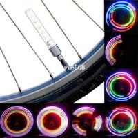 Wholesale Tire Valve Accessories - 2 x Bike Bicycle Wheel Tire Valve Cap Spoke Neon 5 LED Light Lamp Accessories Wholesale
