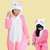 Gatto bianco punto Kigurumi Pigiama Abiti animali Cosplay Costume di Halloween Per adulti e bambini Indumento tute Cartoon Unisex Animal Sleepwear
