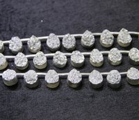 Wholesale Gemstone Coin Beads - 13X18mm 15.5 Longer Titanium Silver Druzy Agate Beads Natural Teardrop Gemstone Drusy Crystal Quartz Necklace Pendant Jewelry Make Connector